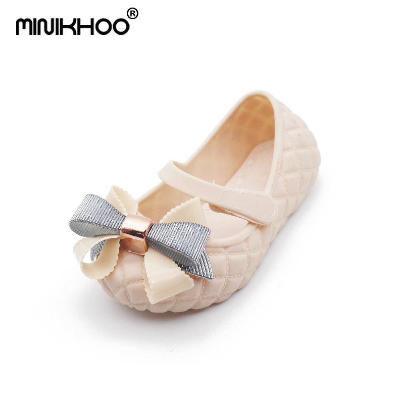 Mini Melissa 2018 Summer New Bow Girls Jelly Sandals Baby Jelly Sandals Girls Shoes Breathable Beach Sandals For Baby 15-17.5cm
