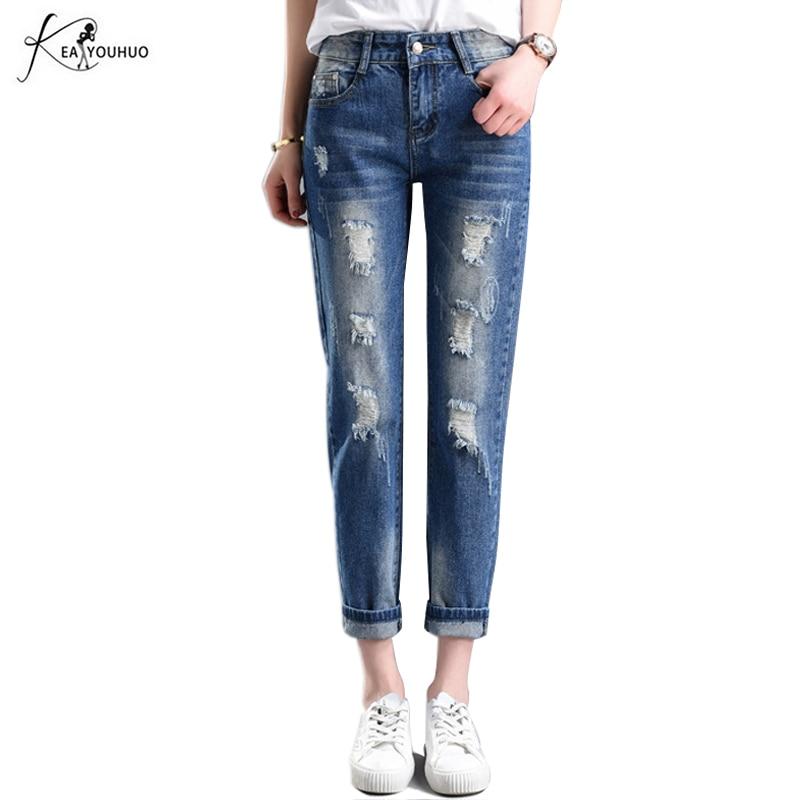 2018 Fashion Denim Harem Hosen Zerrissenen Jeans Für Frauen Löcher Weibliche 36 ~ 34 Übergroßen Vaqueros Mit Taschen Jeans Hosen Pantalon