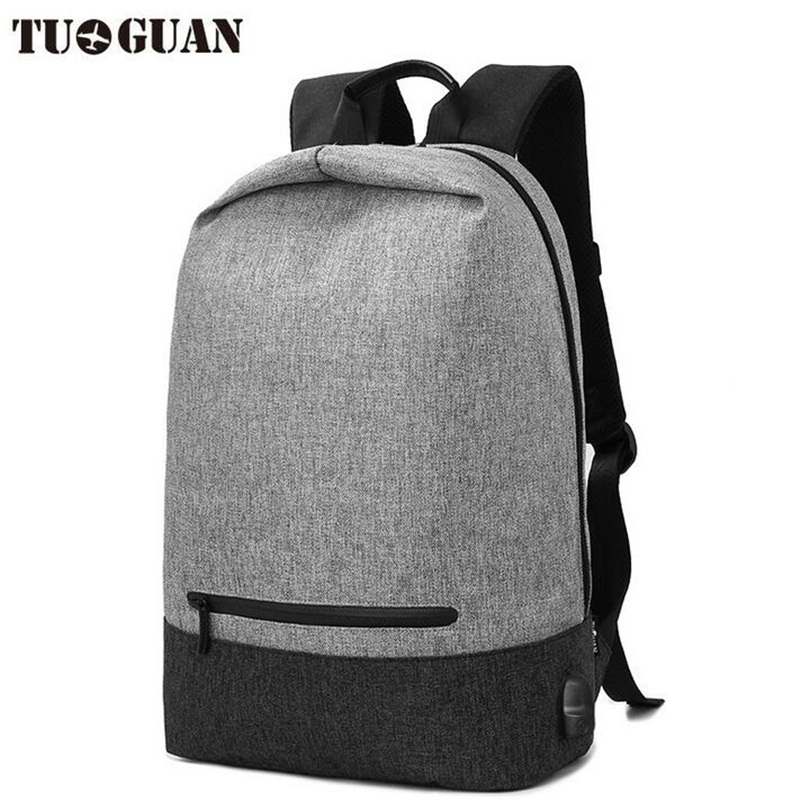 TUGUAN Men USB Charge Anti-Theft BackPack 14inch Laptop Bag Waterproof School Bag Male Canvas Travel Daypack Mochila Rucksack men canvas 15 inch notebook backpack multi function travel daypack computer laptop bag male vintage school bags retro knapsack
