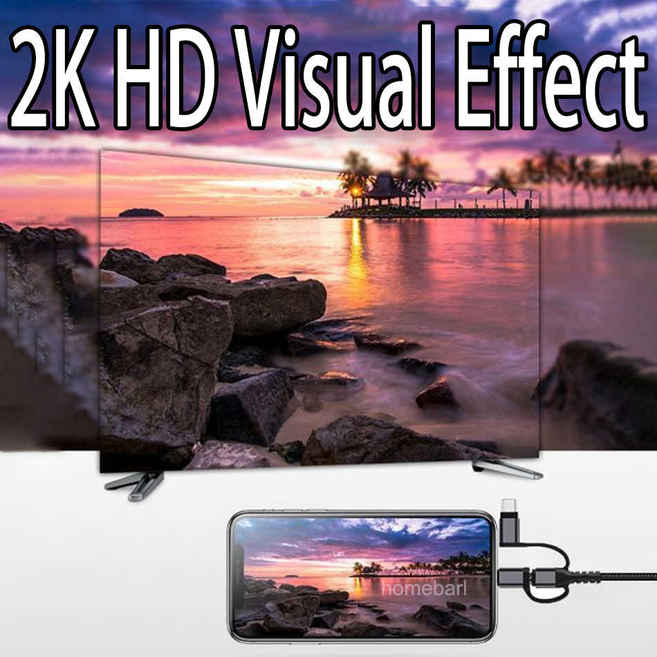 Homebarl 2 M 3 In 1 untuk iPhone Ios Micro Tipe C untuk 2 K HDMI HDTV Kabel HD Video permainan Digital TV AV Amplifier Converter Adaptor