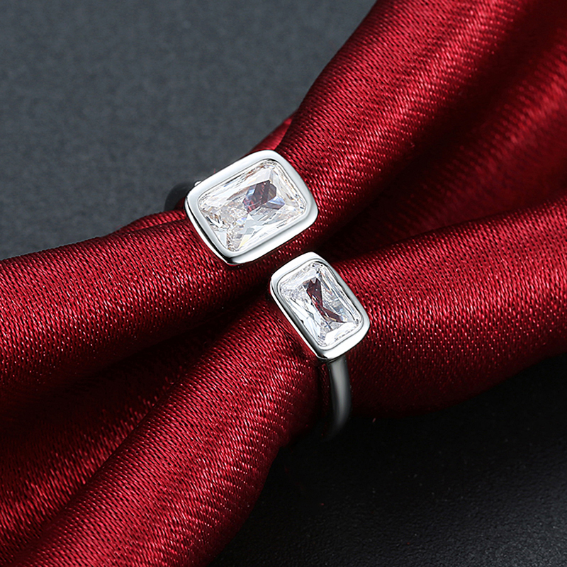 Ened Rings | New Simple Two Rectangle Zircon Stone Open Ended Rings For Women