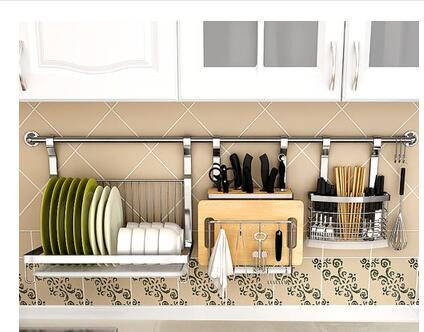 Stainless steel kitchen shelving. Wall hanging wall perforation plus thick knife rack. Seasoning rack. Hang rod.003 ...