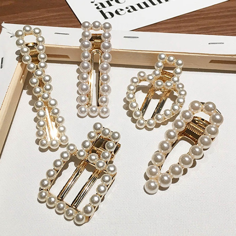 Fashion Rhinestone Pearl Hairpins Girls Barrettes HairPins For Women Geometric Hair Clip Headwear Styling Tools Accessories