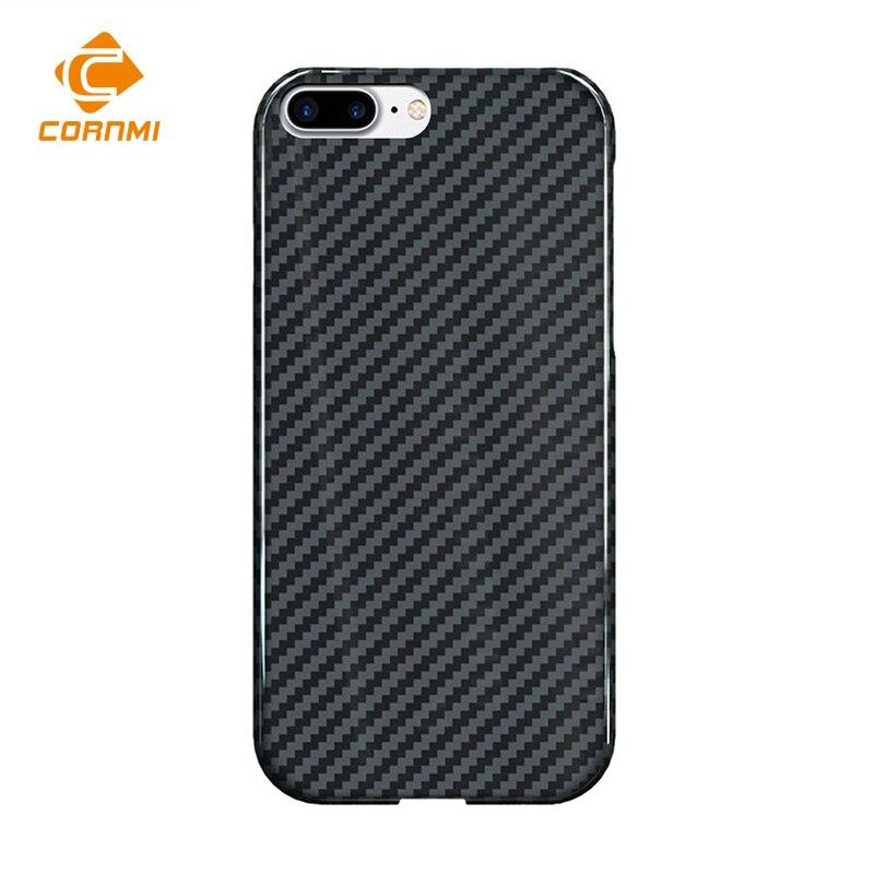 CORNMI Реальные углеродного волокна чехол для iPhone 8 плюс Чехол для 5,5 дюймового телефона Роскошные ультра тонкий обратно оболочки Корпус