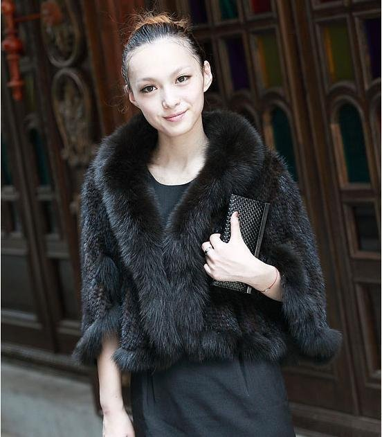 Retail Fashion Knitted Mink Fur Coat With Fox Fur Collar Trimming (FP-27)