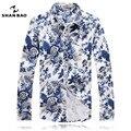 SHAN BAO marca roupas broca de cetim de design e cor é branco azul camisa de algodão homens outono estilo lazer longo-sleeved camisas 2219