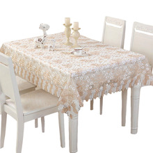 Lace Fabric Tablecloth Set Christmas Embroidery Jacquard Table Runner Dinning Coffee Cloth Home Decor Textile