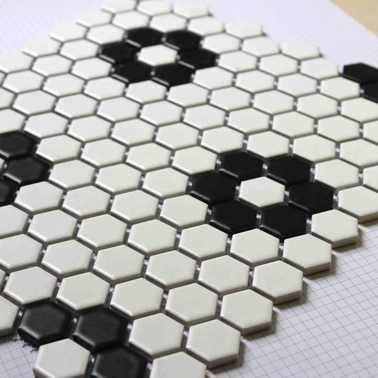 black mixed <font><b>white</b></font> color hexagon ceramic <font><b>mosaic</b></font> <font><b>tiles</b></font> for living room bathroom shower <font><b>tiles</b></font> kitchen backsplash hallway