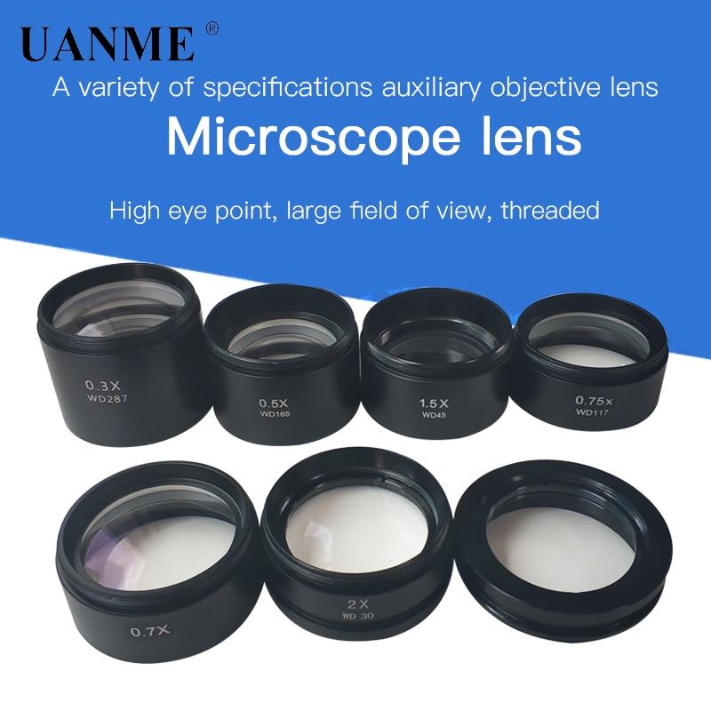 WD120 WD160 WD30 0.3X 0.5X 0.7X 0.75X 1X 1.5X 2X Trinocular Stereo Microscope Auxiliary Objective Lens Barlow Lens 48mm Thread