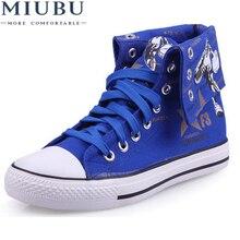 MIUBU Unisex Shoes Men Black Canvas Shoe High Top Casuals Letters Print Casual Flat Leisures