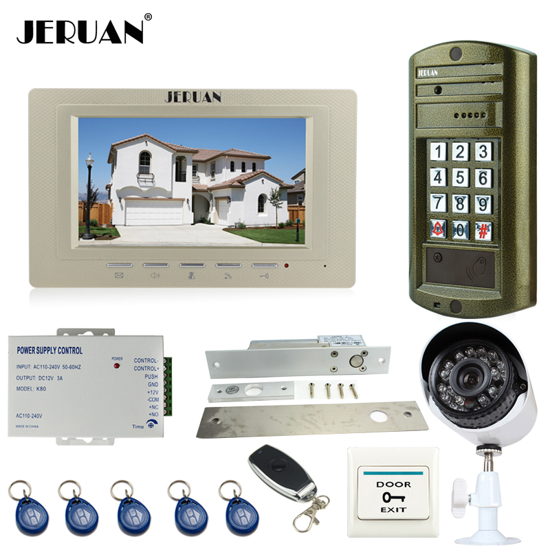 JERUAN Wired 7 inch TFT LCD Video Doorbell Intercom System kit Metal Waterproof password keypad HD Mini Camera+Analog Camera 2V1 7 inch video doorbell tft lcd hd screen wired video doorphone for villa one monitor with one metal outdoor unit night vision
