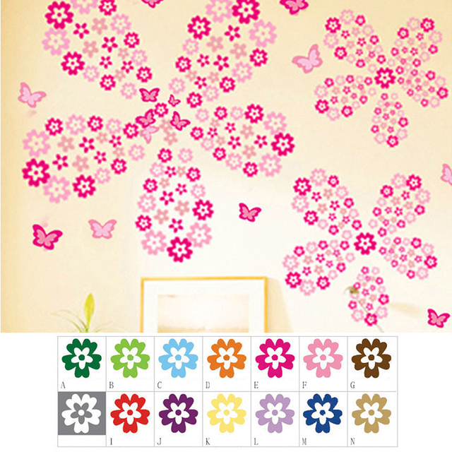 108 small flowers+6 butterflies Colorful Wall Stickers Beautiful Fridge Stickers Wardrobe Toilet Bathroom Decoration PVC Wall