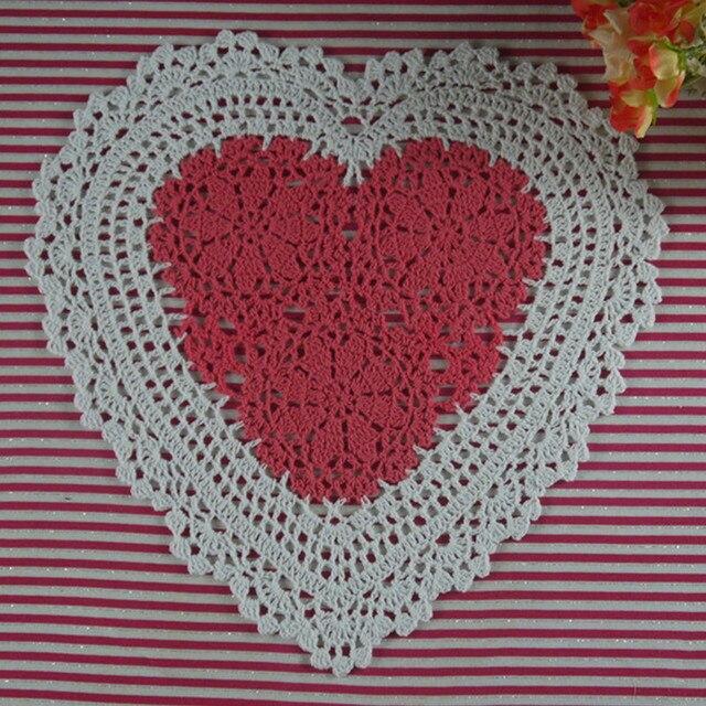6pcs Handmade Crochet Doilies Heart Shaped Pattern Wedding Ornament