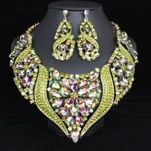 Luksusowe duże kryształowe oświadczenie naszyjnik kolczyki zestaw złoty kolor zestawy biżuterii indyjska biżuteria ślubna dla nowożeńców akcesoria dla kobiet