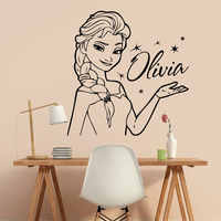 Princess Elsa The Snow Queen Custom Name Wall Decal Vinyl Sticker Decor Nursery Kids Girl Room Art Decor Cute Cartoon 3N11