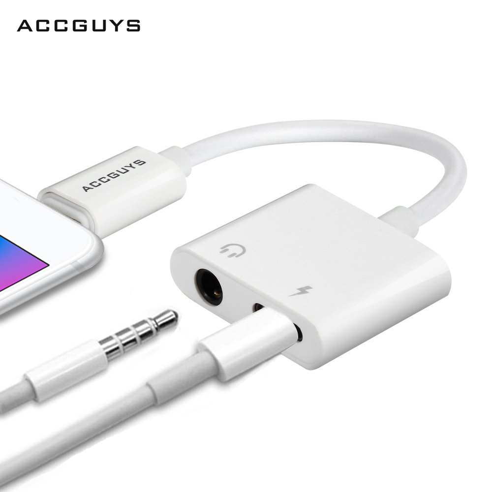 For IPhone X 7 8 Plus Adapter ACCGUYS 2 In 1 Audio