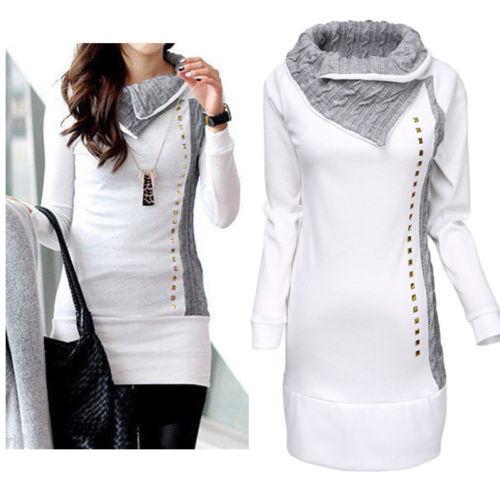 New Women Long Sleeve Hoodie Sweatshirt Jumper Long Patchwork  Ladies Causal Pullover Spring