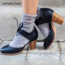 JIANBUDAN/ Retro Baotou sandals Lace-Up laciness high heel womens Summer fashion casual Size 34-43