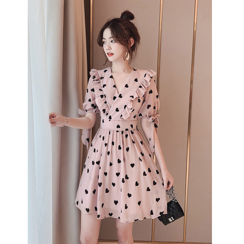 Summer Women's New Korean Edition Mu ear V neck Loving Fairy Sweet and Slim Chiffon Little Dresses