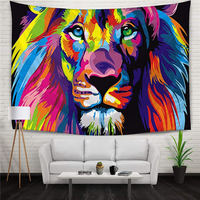 Oil Painting Colorful King of Lion Home Decor Polyester Hanging Tapestry Throw Yoga Mat Digital Printing Wall Carpet