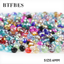 BTFBES 6mm 50pcs Faceted Flat Round Austrian Crystals Loose Bead Glass Ball for Bracelet Necklace Jewelry Making DIY Accessories