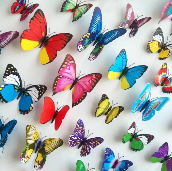 Free shipping 12pcs PVC 3d Butterfly wall decor cute Butterflies wall stickers art Decals home Decor 5 Colors 12 pcs size 7-12CM