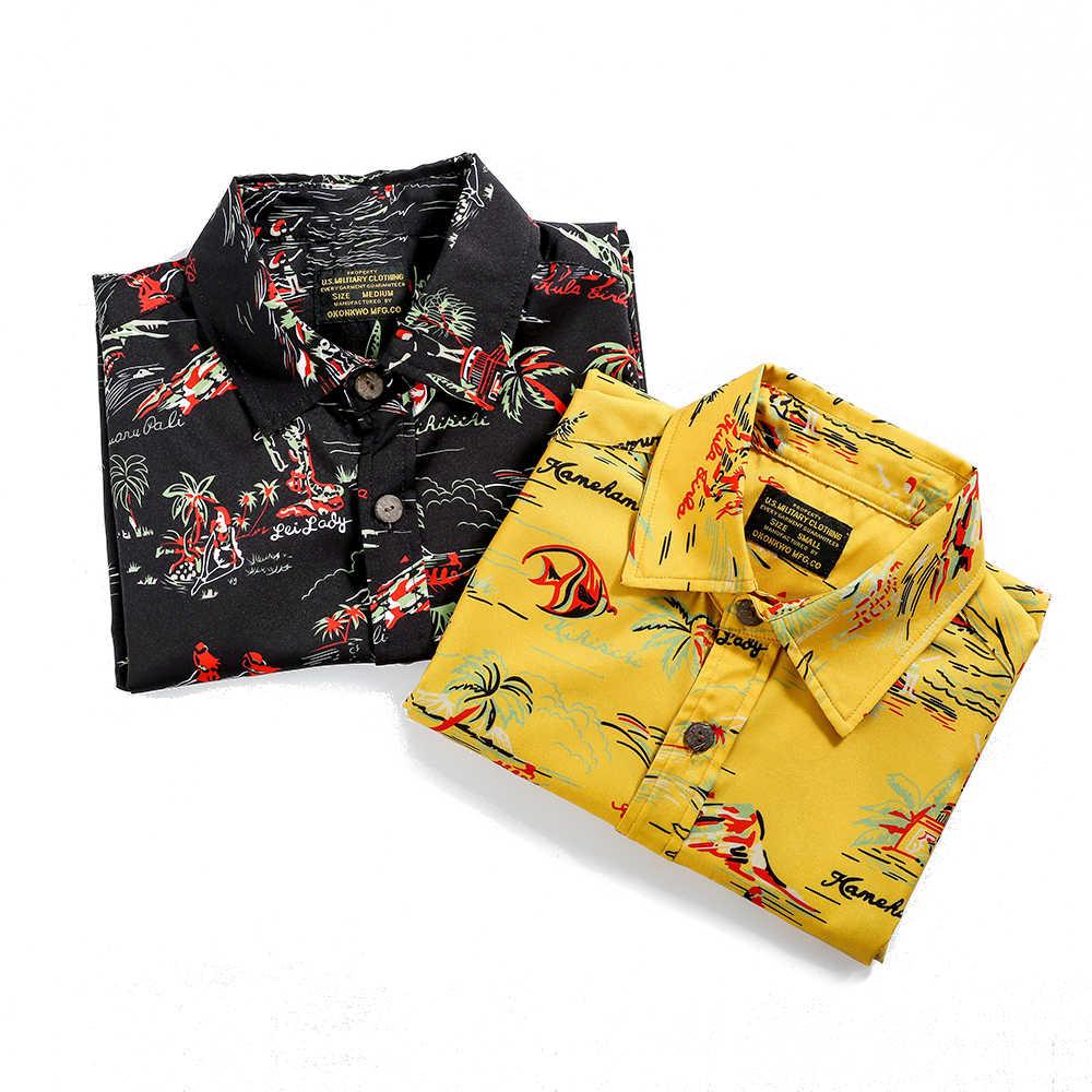 Летняя новая гавайская рубашка Алоха Мужская остров праздник короткий рукав модная повседневная мужская рубашка клипсы для фото + веревка рубашка с принтом