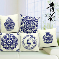 45 45 Cm Chinese Blue And White Porcelain Blue Printing Linen Cotton And Linen Pillows Pillows