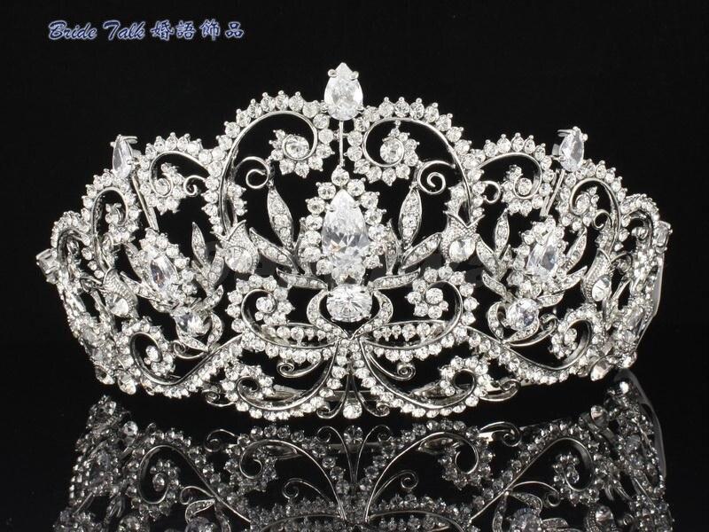 SEPjewelry High Quality Austrian Clear Crystals Rhinestone Bridal Flower Tiara Crown for Prom Wedding Hair Accessories