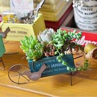 Creative Handwork Flower Pots Planters Tabletop Vintage Finish Wood Go Cart Trolley Decor Home Decoration Garden