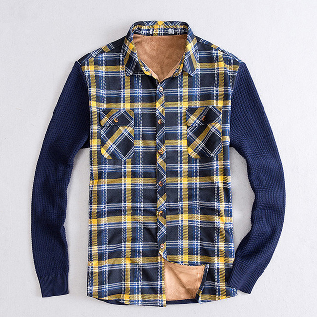f33edee349c Men Plaid Shirt Winter Velvet Shirts Fashion Warm Fleece Lined Thicken Long  Sleeve Casual Shirt Men