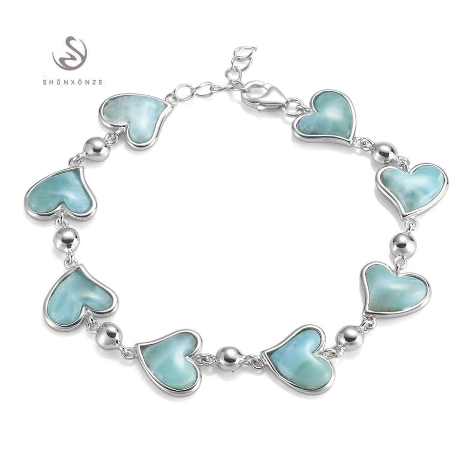 Eulonvan Heart Bracelet For Women Larimar Natural Stone 925 sterling Silver Bracelets S 3798 Beautiful Charm Female Jewelry