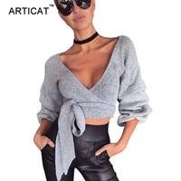 Articat 섹시한 V 넥 Wraped 니트 스웨터 여성