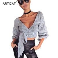Articat Sexy V Neck Kintted Sweater T Shirt Women Tops 2017 Autumn Lantern Sleeve Waist Bow