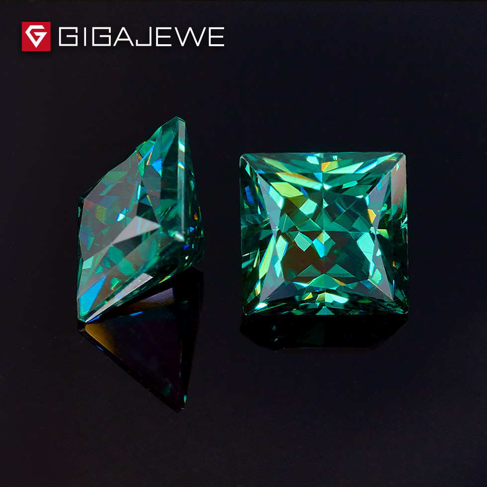 GIGAJEWE Dark Green Color Princess Cut 5.5mm 1-1.5ct  Fancy Clear Moissanite Stone For Wedings Engagement Ring Set GIGAJEWE Dark Green Color Princess Cut 5.5mm 1-1.5ct  Fancy Clear Moissanite Stone For Wedings Engagement Ring Set