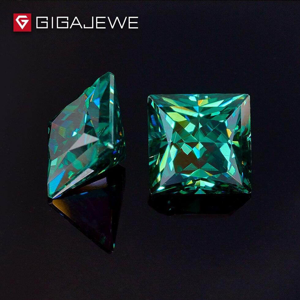 GIGAJEWE ciemny zielony kolor księżniczka Cut 5.5mm 1 1.5ct fantazyjne jasne kamień Moissanite dla Wedings pierścionek zaręczynowy zestaw w Koraliki od Biżuteria i akcesoria na  Grupa 1