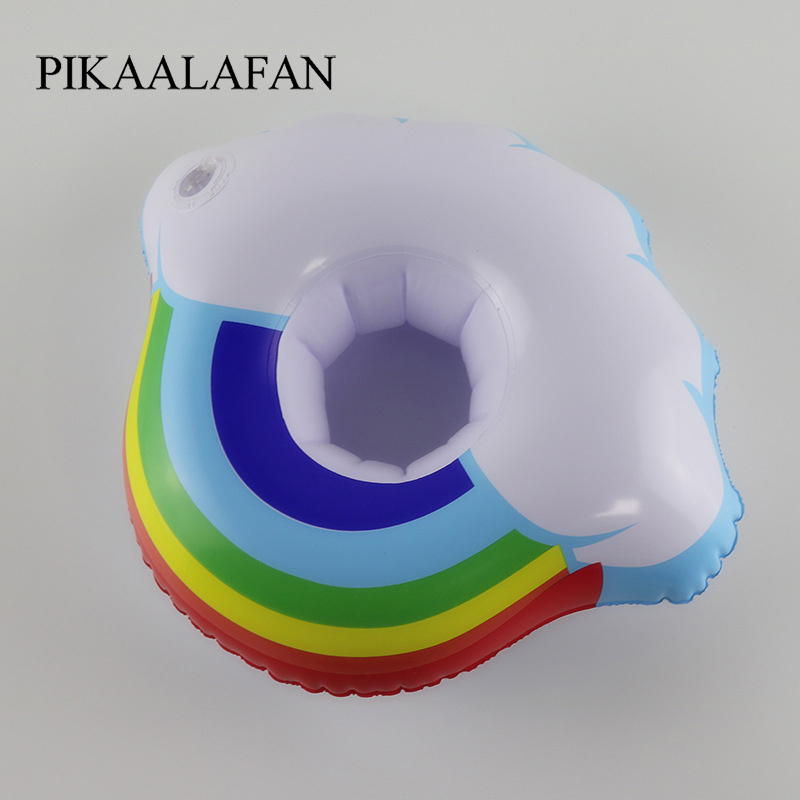 PIKAALAFAN Swimming Pool Party Floating Inflatable Cup Seat Inflatable Cloud Cup Holder PVC Security Inflatable Water Coaster