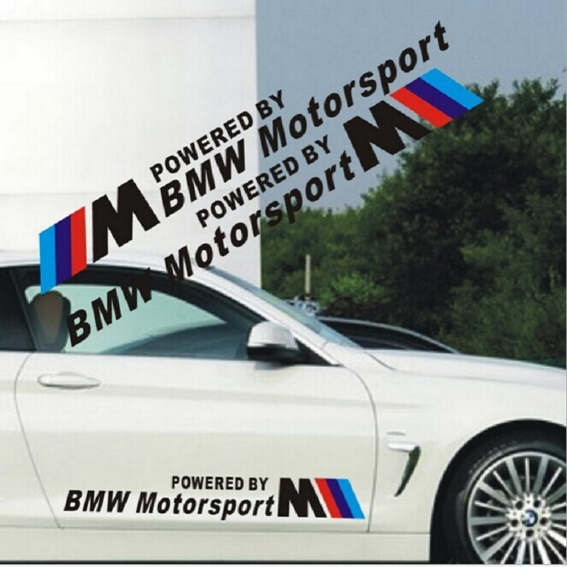 2pcs/lot Free shipping 58*7cm personalized Powered by motorsport sticker for BMW car door stickers Car Styling two colorway motorsport manager [pc jewel]