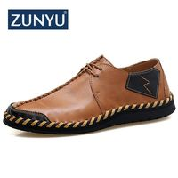 ZUNYU New Spring Summer Genuine Leather Men Casual Shoes Breathable Lace up Loafers Flats Mens Moccasins Shoes Big Size 38 47