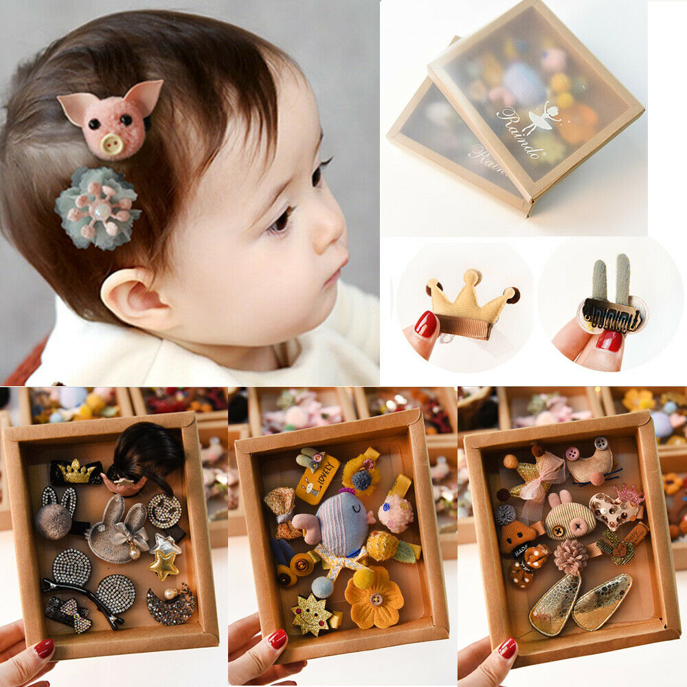 10Pcs Mixed Cartoon Styles Baby Kids Girls Hairpin Hair Clips Jewelry Decor Gift