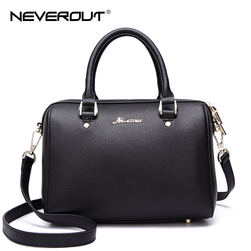 NeverOut Split Leather Boston Handbag for Women Shoulder Sac Bag Fashion Brand Lady Handbags Luxury Top-Handle Crossbody Bags patent leather handbag shoulder bag for women