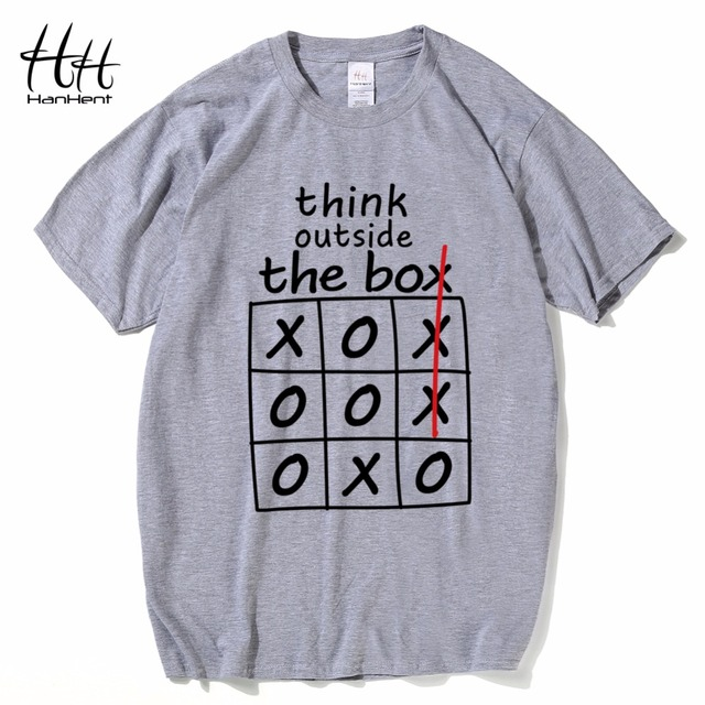 HanHent think outside the box T-shirts Creative Cotton Summer Mens Tee Shirts Bodybuilding 2018 Streetwear Funny T shirts Boys 5