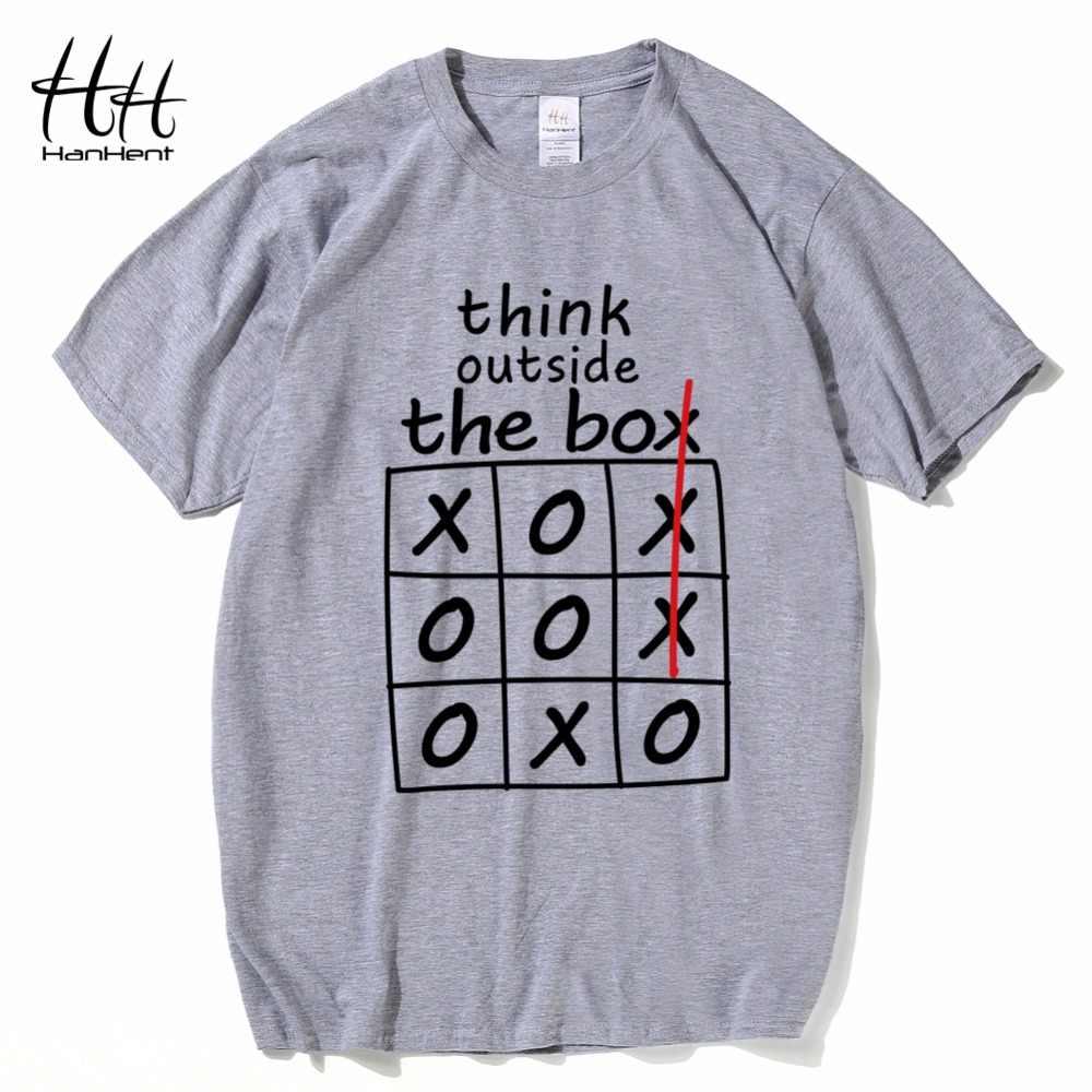 Hanhent Berpikir Di Luar Kotak T-shirt Putih Kreatif Kapas Musim Panas Pria Tee Kemeja Streetwear Kustom Kemeja Lucu Kaos Anak Laki-laki