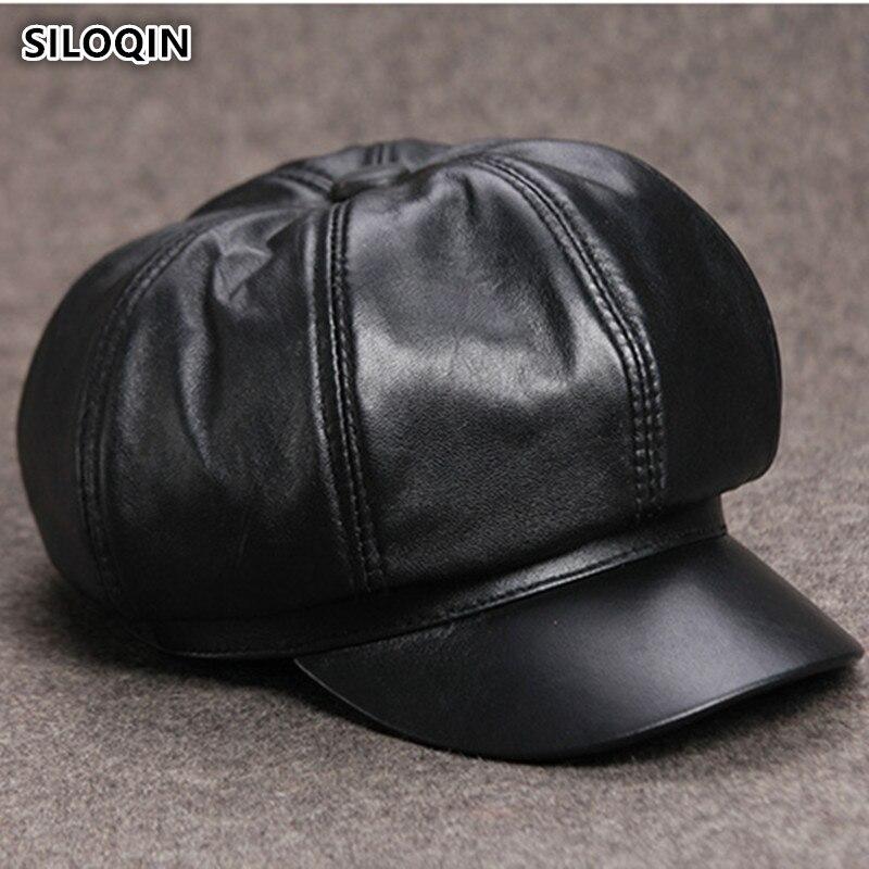SILOQIN Unisex Genuine Leather Hat Sheepskin Newsboy Caps For Men And Women Elegant Cap Visor Trend