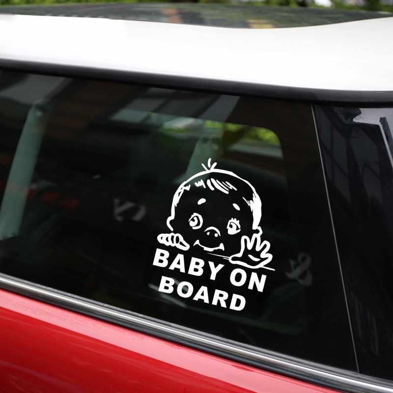 Cunymagos encantador bebé niño en señal de seguridad de coche y pegatinas vinilo calcomanía coche estilo pegatinas Auto de la motocicleta 13,1*15,2 CM