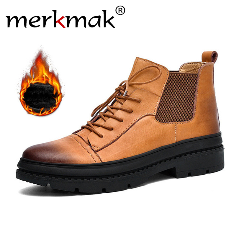 2019 Neuestes Design Merkmak Winter Männer Stiefel Aus Echtem Leder Stiefel Klassische Kurze Stiefel Mode Männlichen Schuhe 2018 Männer Leder Casual Schuhe