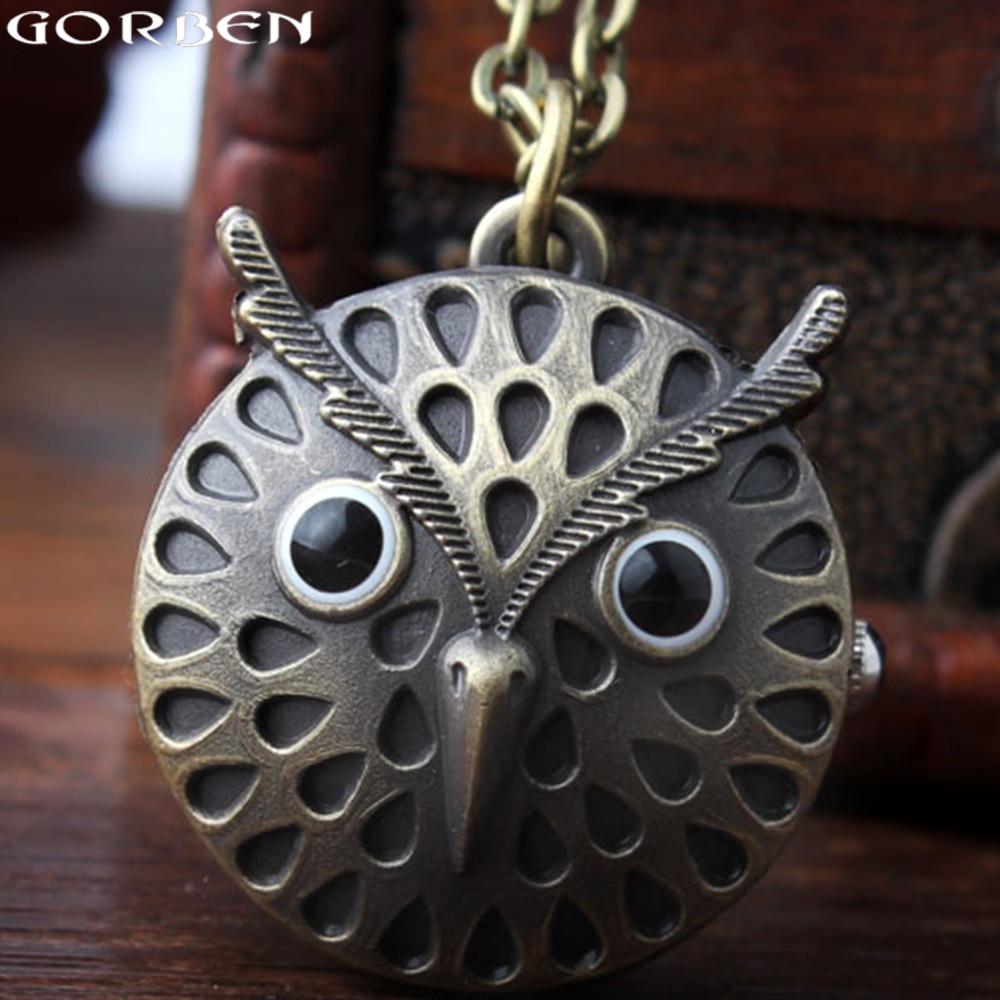 New Gorben Watch Fashion Small Owl Design Quartz Pocket Watch Women Men Mini Size Quartz Watch Necklace With Long Chain Pendant