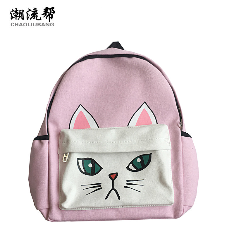 CHAOLIUBANG Cartoon Printing Canvas Backpack Cute Cat School Bags For Teenage Girls Lovely Large Capacity Travel Daypack Mochila 2016 18 inch cute cat printing backpack women school bags for teenage girls fashion men travel bags good quality