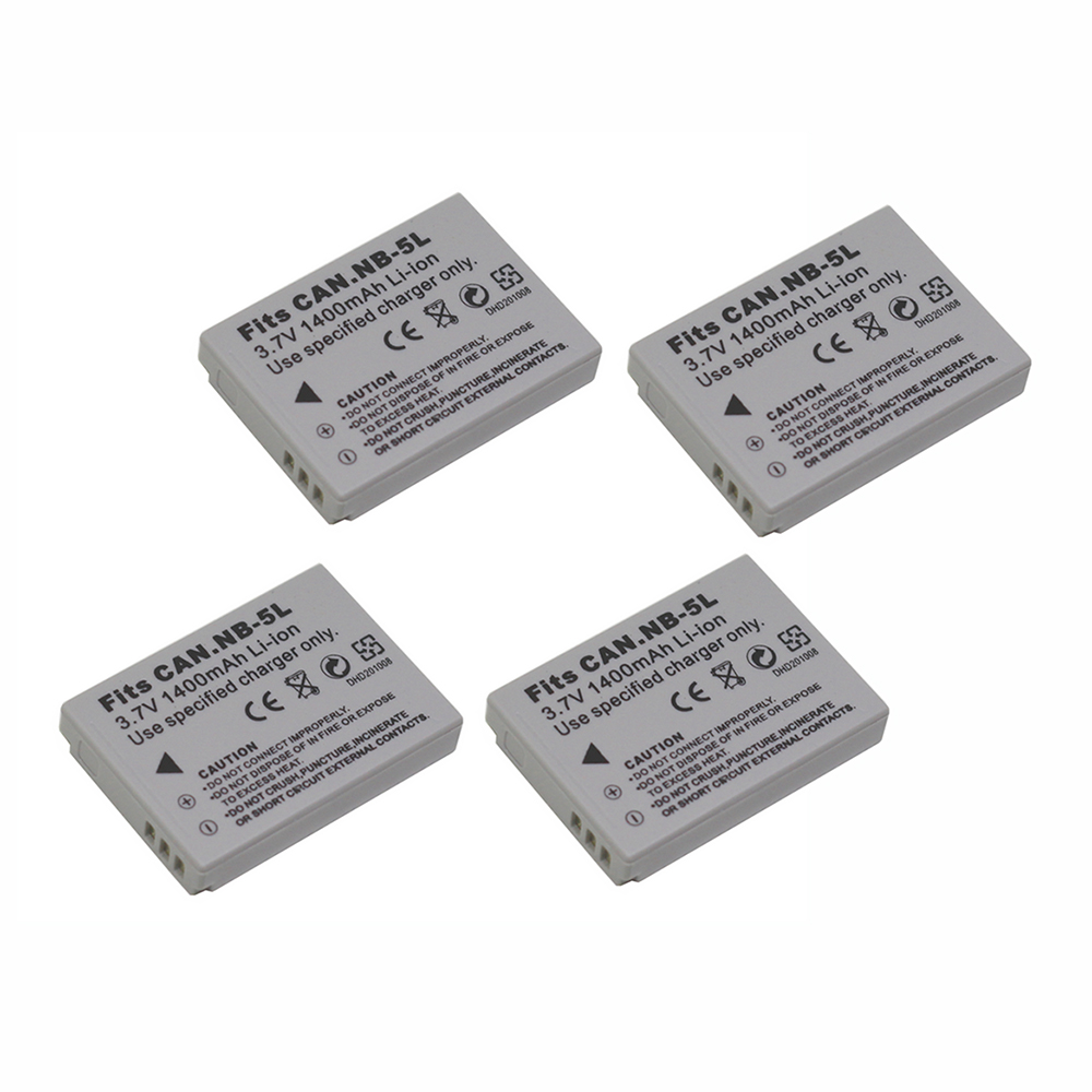 4Pcs 1200mAh Camera <font><b>Battery</b></font> NB-5L NB 5L For <font><b>Canon</b></font> SX200is SX210IS SX220HS <font><b>SX230HS</b></font> CB-2LXE PowerShot S100 S110 SD950 SD970 SD990 image