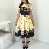 Trendy Female Fashion Elegant A Line Midi Party Tunic Women's Dresses Butterfly Print Short Sleeve Belted Satin Pleated Dress